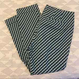 Boden green patterned ankle pants, size 8